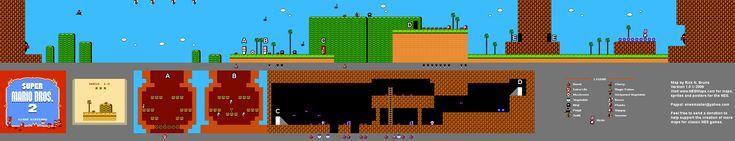 Super Mario Brothers 2 - World 1-2 Nintendo NES Map