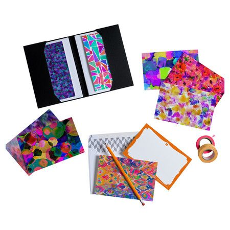 Pen thank-you notes and thinking-of-you letters on these eye-catching notecards, showcasing an abstract geometric motif for artistic appeal. Made in the USA....
