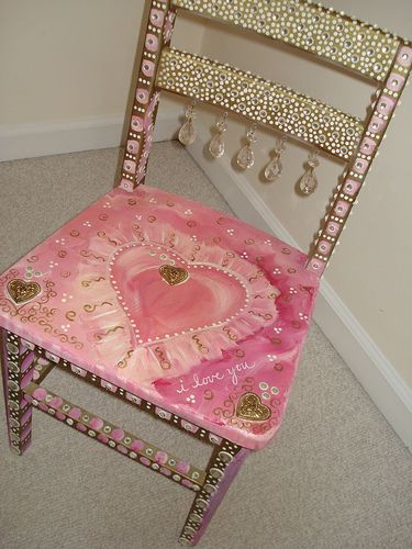 rhinestone & crystal chair #painted #furniture