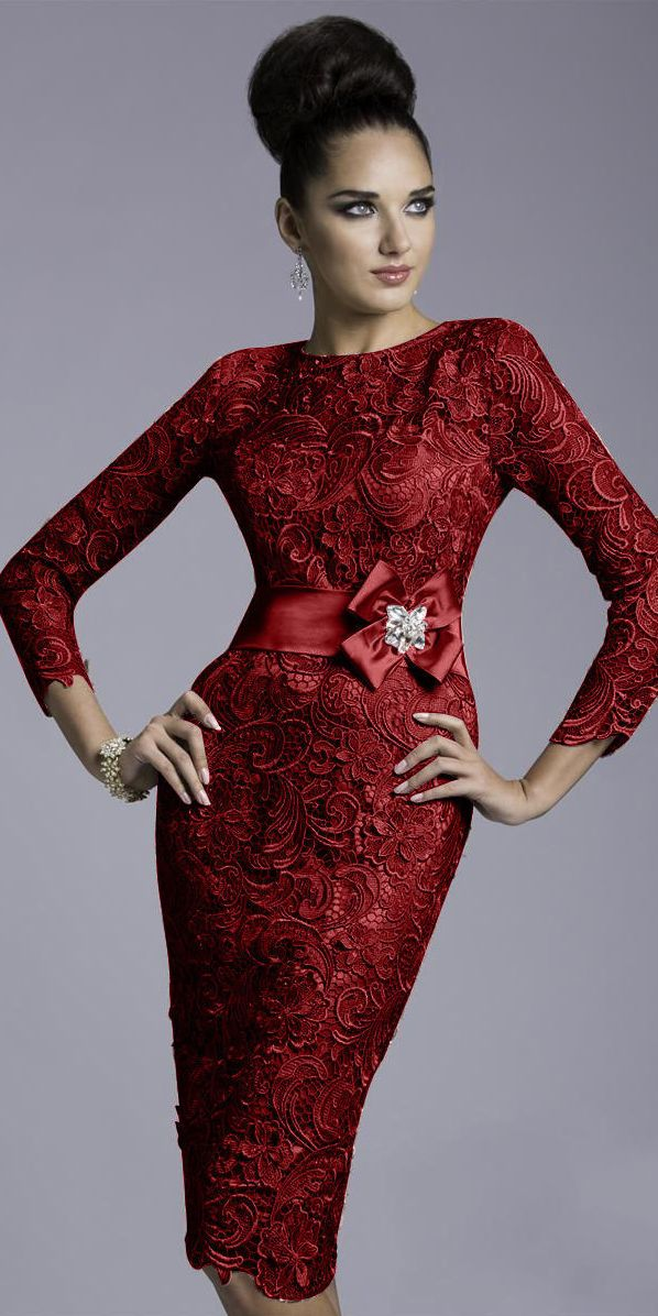 6c8e668813 Burgundy Knee Length Mother Of The Bride Dress Vintage Lace Guipure.  Formalwear. Available different