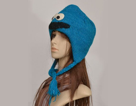 Cookie monster animal hat   warm hat  knit hat  by HatsMittensEtc