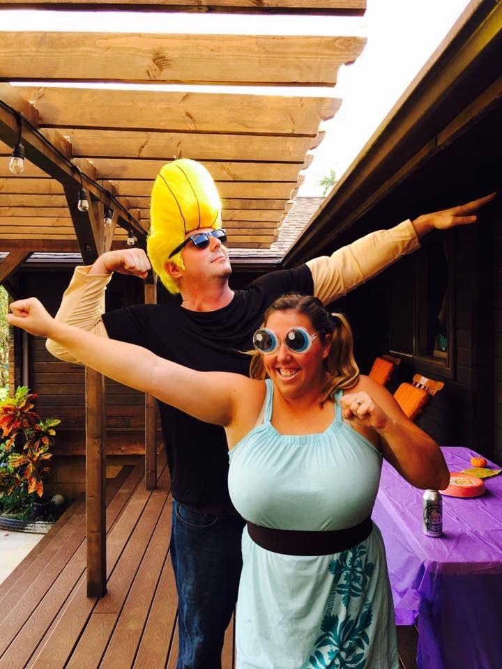 Halloween Power Puff Girl and Johnny Bravo. Cartoon Network Cheap costume ideas