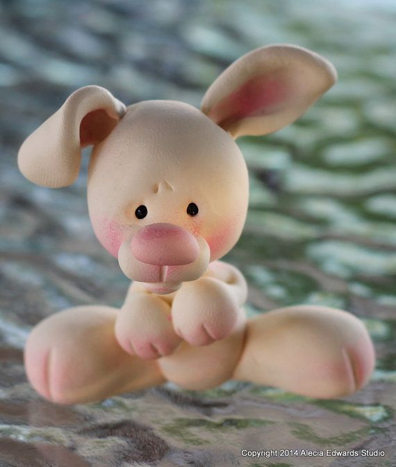 OOAK Polymer Clay Bunny Miniature Figurine by CanterberryTails