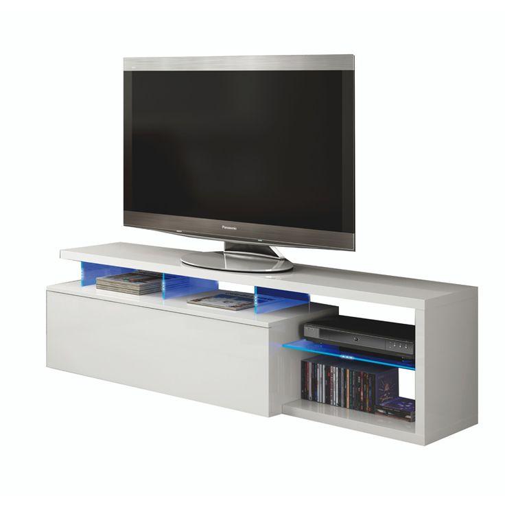 Mesa Tv con leds en color blanco brillo BLUE TECH