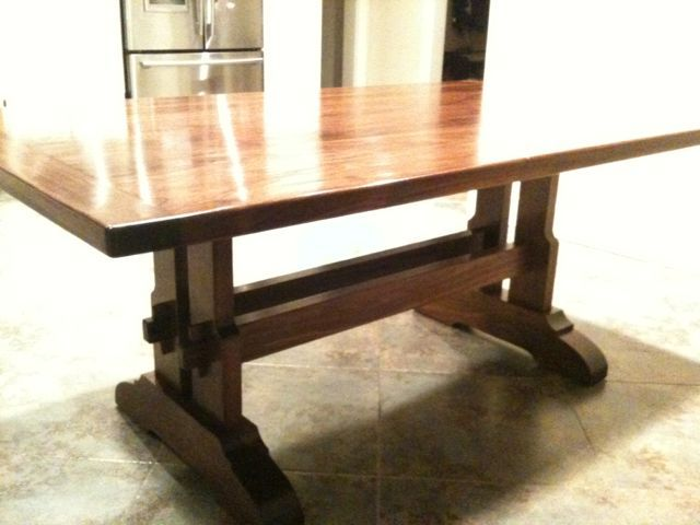 17 best images about trestle table on pinterest trestle for Craftsman style desk plans