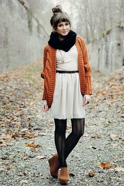 fall fashion - orange sweater, black scarf, white dress, black tights, brown ankle boots, adorable!