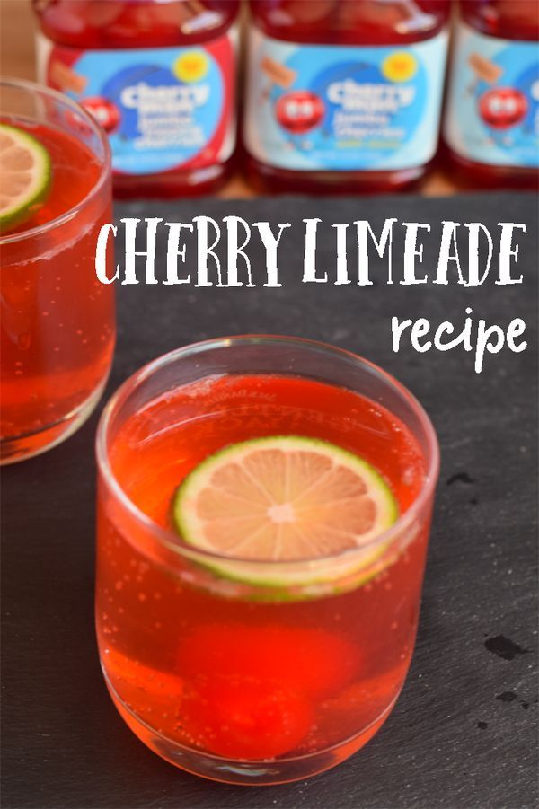 Cherry Limeade with a Cherry Drink Stirrer | Get this easy cherry limeade recipe that is great for a party or potluck!