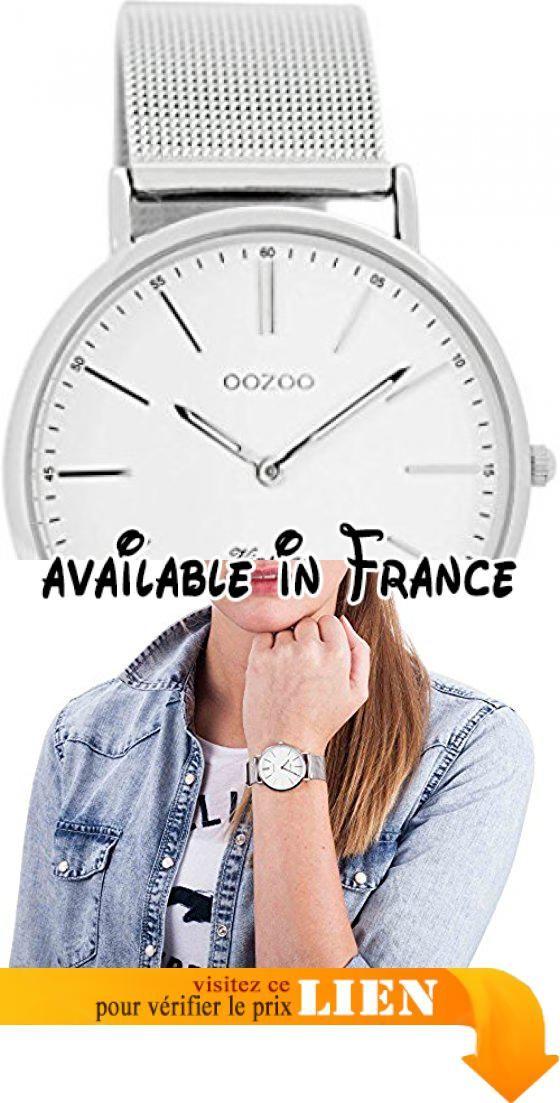B017NTNSFY : Oozoo Montre Femme Digitale Quartz avec Bracelet en Acier Inoxydable  C7395. Série: Vintage.. Diamètre du boîtier: env. 36mm (sans couronne).. Hauteur du boîtier: env. 69mm.. Mouvement à quartz SII VJ20C de haute qualité.. Bracelet milanais en métal.