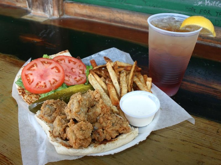 Best Seafood in Augusta -  Rhinehart's Oyster Bar - Fried Oyster Po Boy - (or poor boy)  at Rhinehart's Oyster Bar - a great place to eat during Masters in Augusta, Georgia www.beyondcasual.com