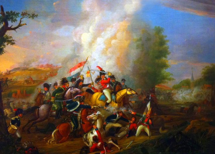 Batavian Dutch and French troops pursuing the retreating British at the Battle of Castricum, Fifth Anglo-Dutch War