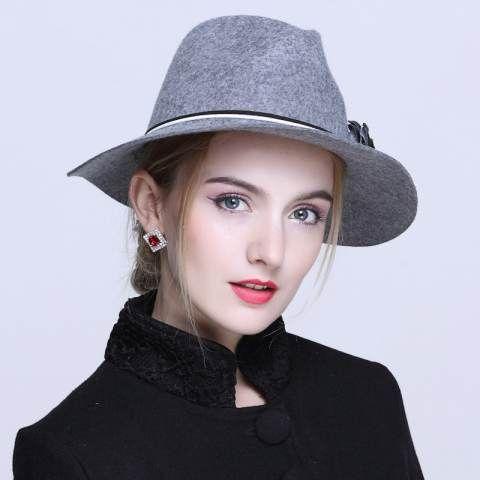 eb24c9b347d British style flower fedora hat for women fashion wool wide brim felt hats
