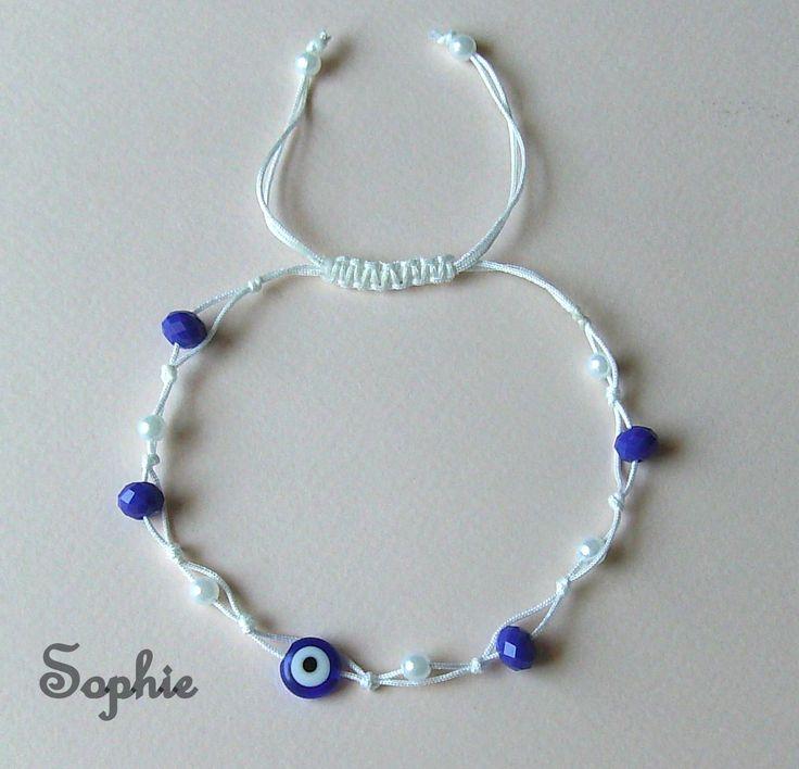 βραχιόλι για το πόδι με ματάκι, κ μπλε άσπρες χάντρες, το μέγεθος προσαρμόζει blue white evileye anklet bracelet foot jewelry greek handmade summer accessories https://www.facebook.com/SophiesworldHandmade/