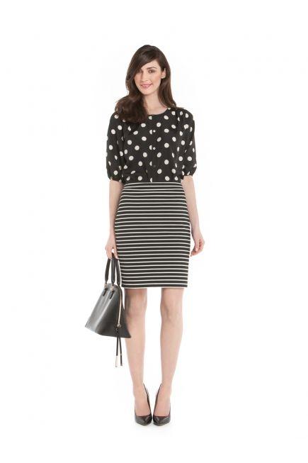 Jupe Ajustée à Rayures Horizontales - Horizontal Stripped Fitted Skirt