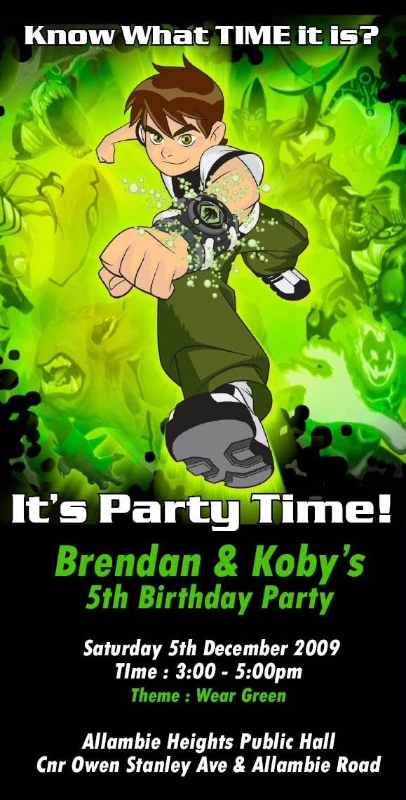 Ben 10 Birthday Invitation