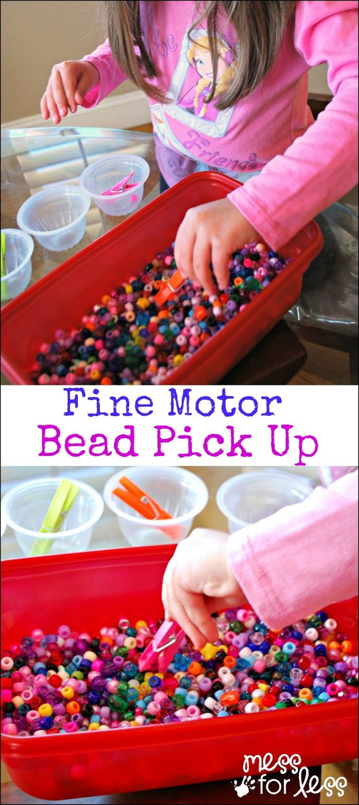Fine Motor Skills Activity with Beads - a game that takes just a few minutes to set up and lets kids practice their fine motor skills. Repinned by SOS Inc. Resources pinterest.com/sostherapy/.