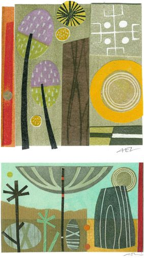 Collage from print. Angie Lewin
