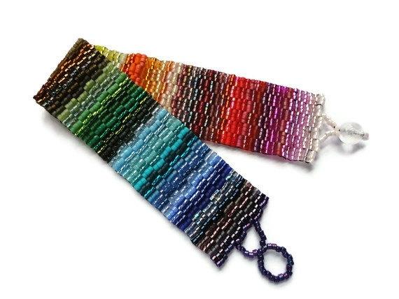 Seed Bead Bracelet Peyote Stitch Delica Rainbow by JoannGirls, $35.99