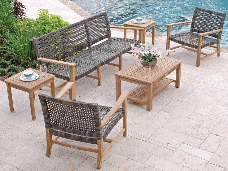 Hampton 4 Pc. Teak & Woven Resin Wicker Sofa Group