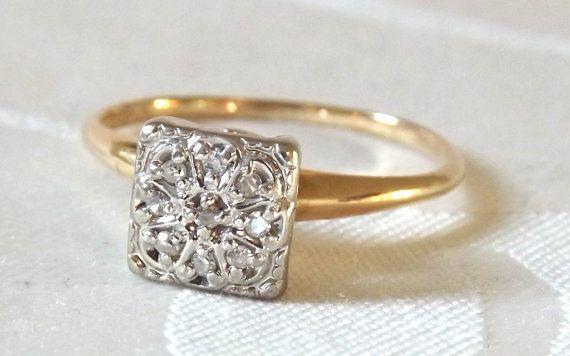 vintage square illusion diamond cluster ringyellow white