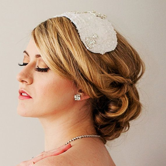 White Beaded Lace Headpiece Juliet Cap by ChantillyLaceDesigns, $280.00