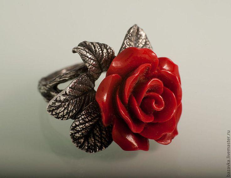 """Серебряное кольцо """"Красная роза"""" - кольцо с кораллом,кольцо с розой,серебро 925 пробы"""