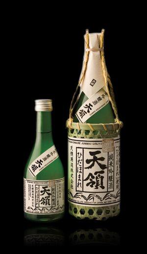 sake Japanese rice wine『ひだほまれ天領』  Love the bamboo effect.