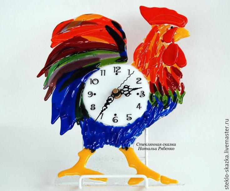 """Купить Часы настенные, фьюзинг """"Петушок-золотой гребешок"""" - комбинированный, петух, петушок, год петуха"""