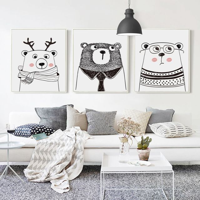07g Nordic Black And White Cartoon Animal Rabbit Deer Bear A4 A3