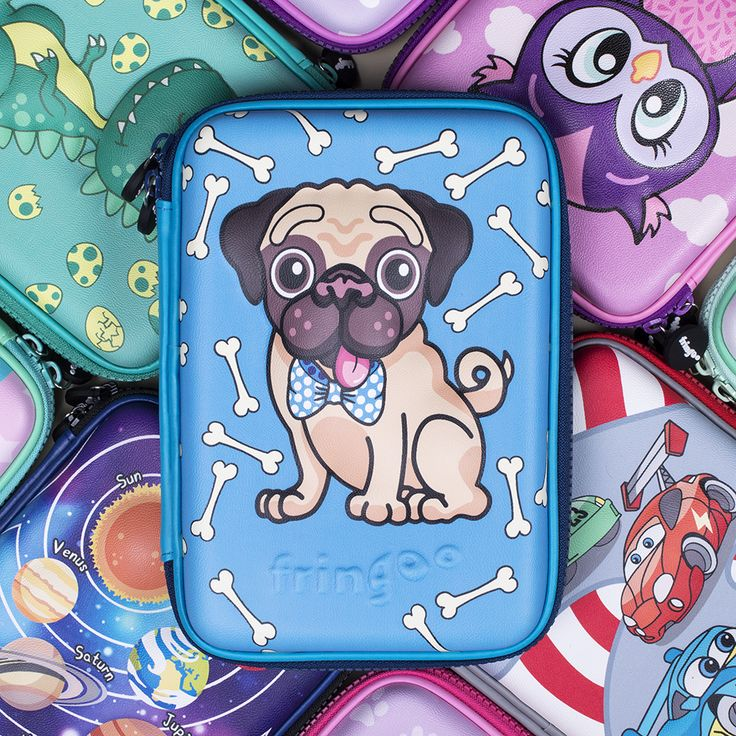 Superb, pug hard top pencil case for boys and girls. Unique present for kids starting school.