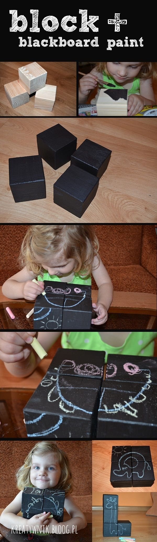 Blocks + blackboard paint = lots of ideas for a successful play and learn...