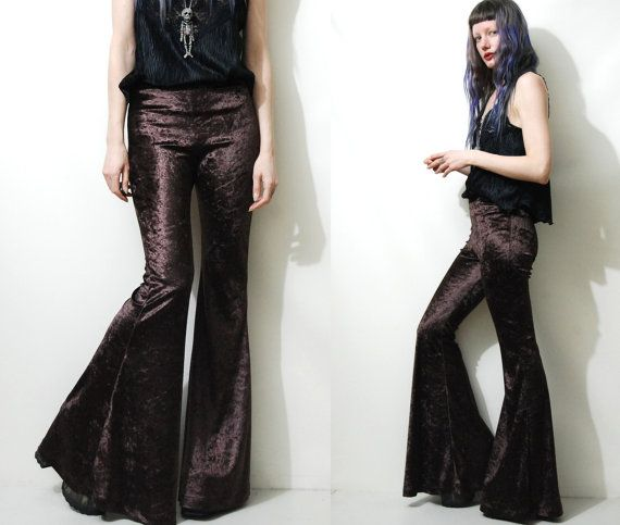 CRUSHED VELVET Bells Pants BROWN 90s Bell Bottoms by cruxandcrow