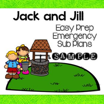 jack and jill sub plans sample packet that are perfect for a kindergarten classroom includes 3. Black Bedroom Furniture Sets. Home Design Ideas