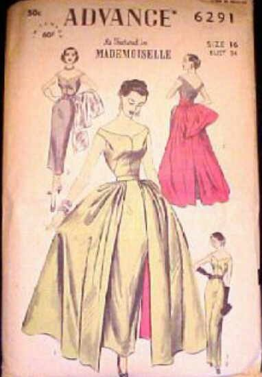 Advance 6291 circa 1952 Sheath Dress with Variations