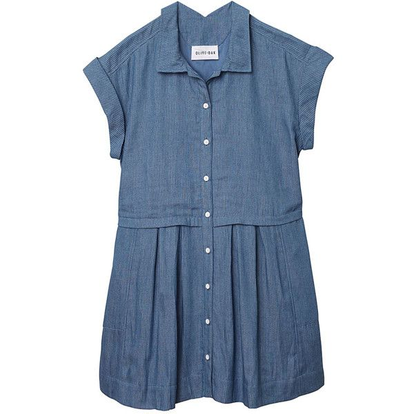 Olive + Oak 1st Day Of School Jumper (385421101) ($68) ❤ liked on Polyvore featuring dresses, jumpers, multiple colors, denim dress, short sleeve denim dress, denim button up dress, blue collared dress and pleated dress