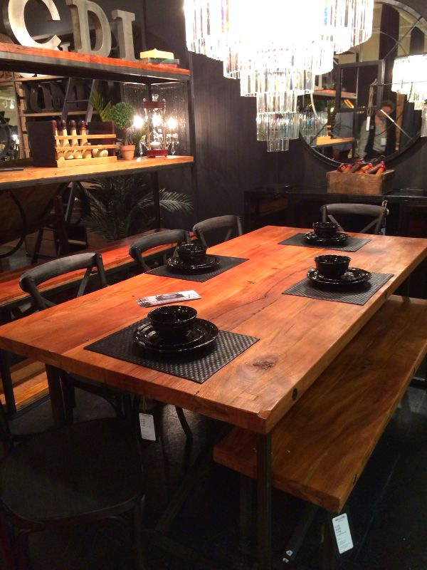 A A Great Solid Wood And Industrial Designed Table And Shelving Unit With  Ample Seating.