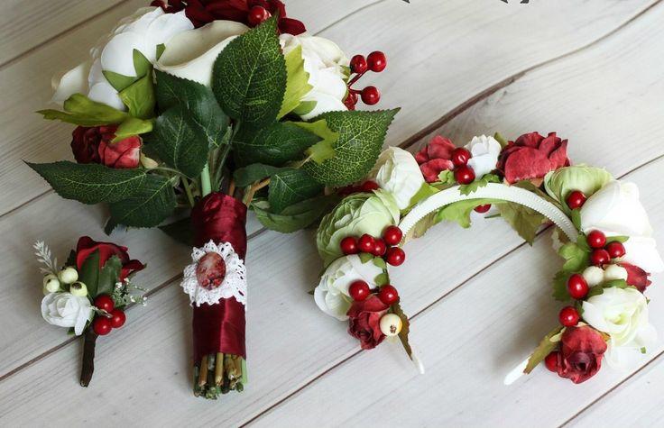 Свадебный комплект - букет невесты, ободок, бутоньерка жениха. Прокат 800р, залог 3500р