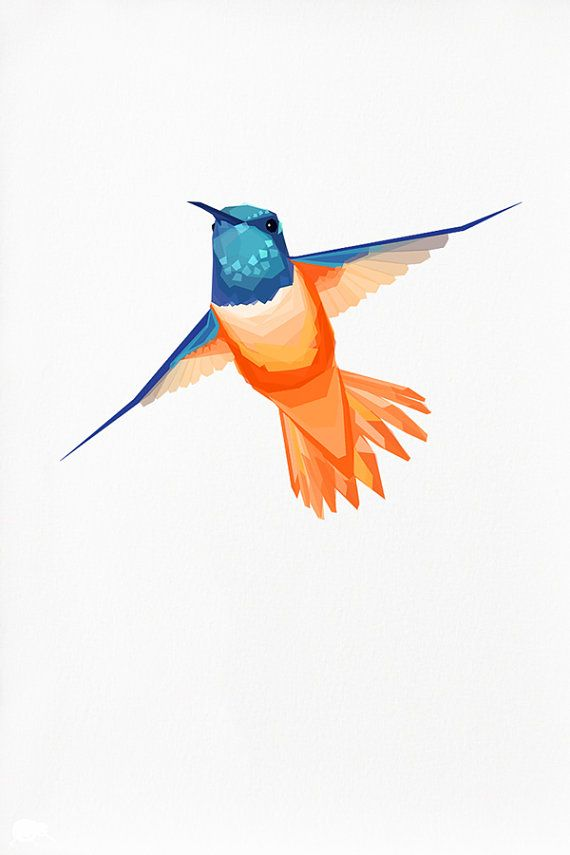 Geometric Hummingbird Bird Print | TinyKiwiCreations