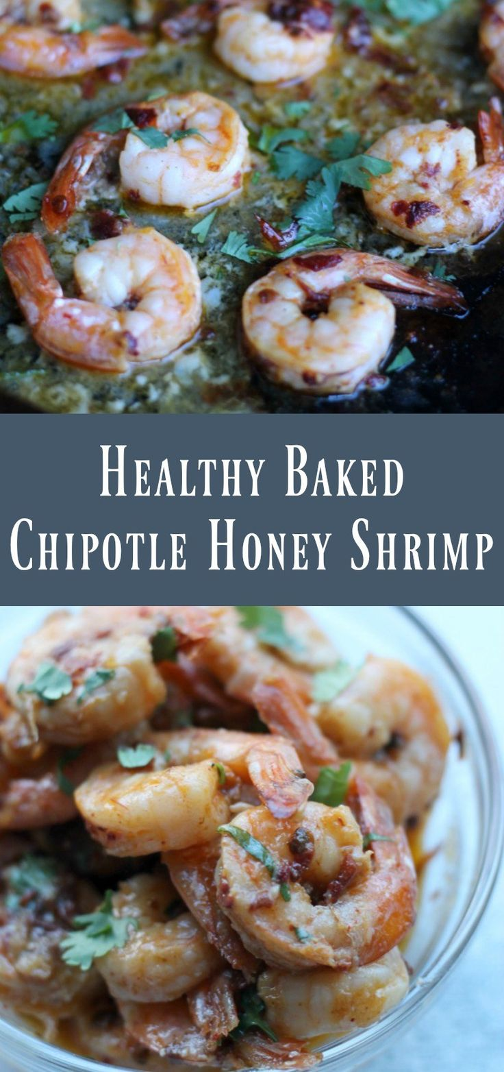 Healthy Baked Chipotle Honey Shrimp. Meal prep recipe for weight loss