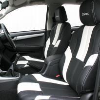 Isuzu dmax bespoke black leather with white sections  stitching 004