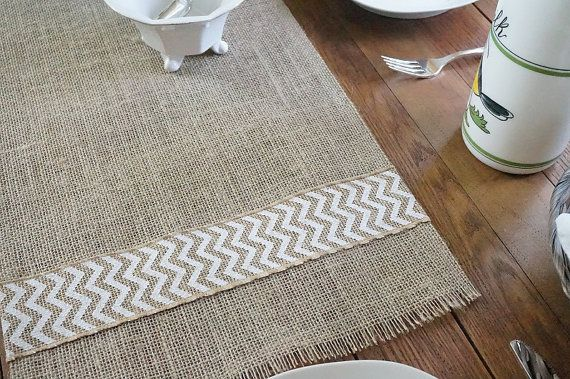 ON SALE Burlap Table Runner with White Chevron by FairStreetCrafts