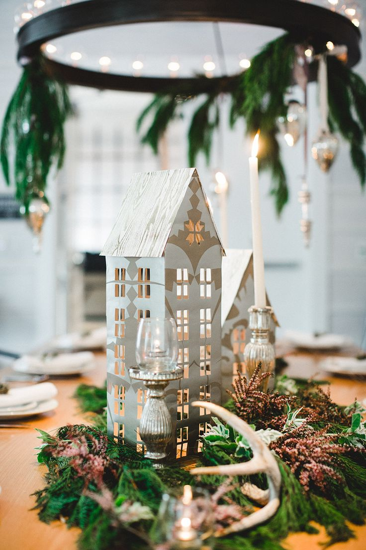 winter wedding DIYs - photo by Izzy Hudgins Photography http://ruffledblog.com/diy-christmas-village-luminaries
