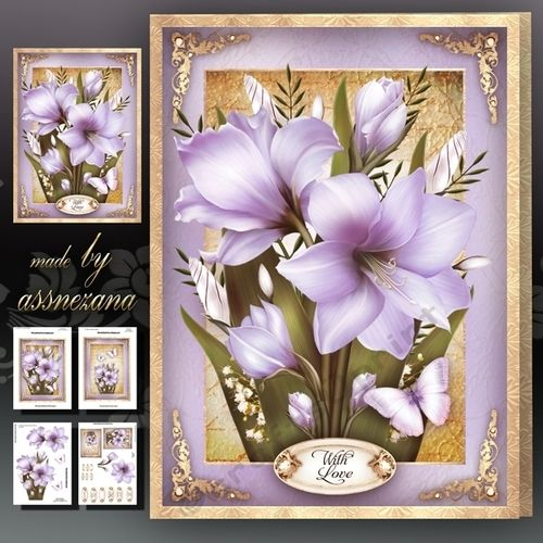 Vintage Lilac Flowers for All Occasions Card Mini Kit: 4 sheets for print with decoupage for 3D effect plus few sentiment tags (for your own personal text)