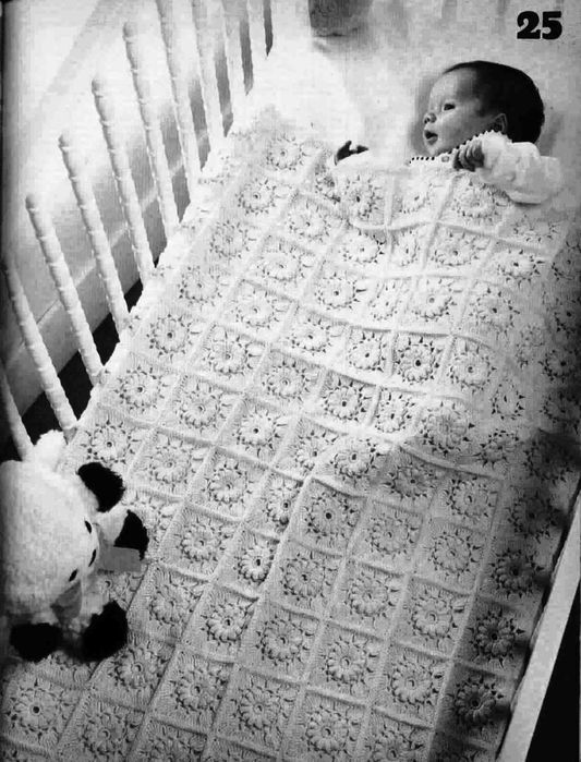 "Crochet ""crib blanket"" ♥LCB-MRS♥ with diagram"