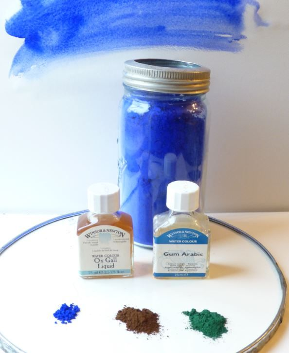 Ingredients in watercolours, pigments, gum arabic and ox gall
