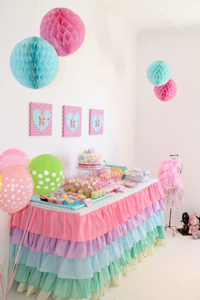Best 25 plastic tablecloth decorations ideas on pinterest for Baby girl birthday decoration pictures