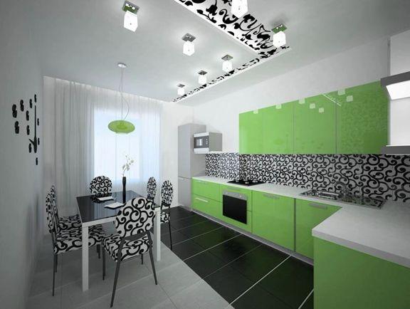 Современный дизайн зеленой кухни