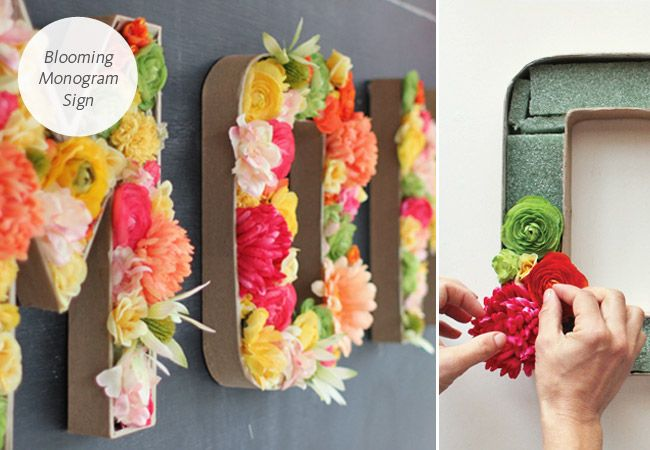 5 Wedding DIY Projects You Could Do In A Day - Love the floral monogram letters!