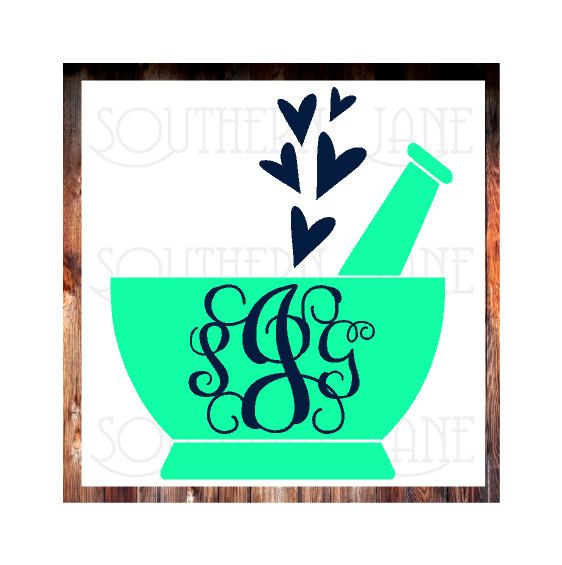 Monogrammed Pharmacy / Pharm Tech Mortar And Pestle With Hearts Or No Hearts Option Decal Sticker by SouthernJaneGraphics on Etsy
