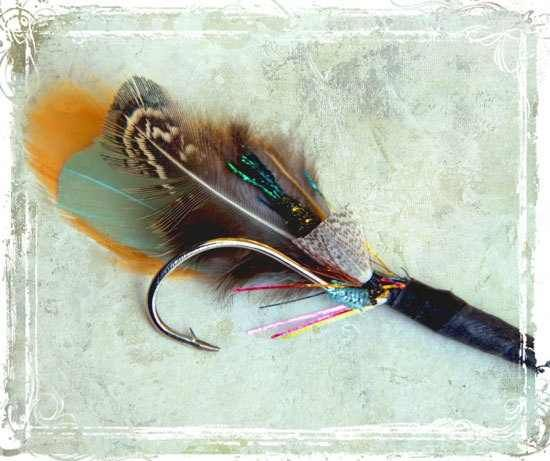Fishing hook & feather boutonniere