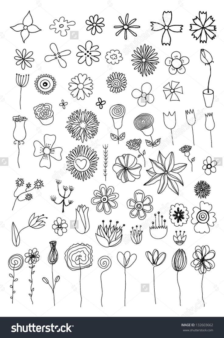 Set of flower doodles